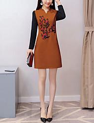 Недорогие -Жен. Большие размеры Офис Шинуазери (китайский стиль) Тонкие Облегающий силуэт Платье - Контрастных цветов, Вышивка V-образный вырез