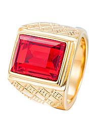 cheap -Men's Statement Ring Rhinestone Black Red Blue Dark Green Stainless Geometric Casual Cool Daily Street Costume Jewelry