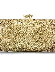 baratos -Mulheres Bolsas Plástico / Metal Bolsa de Festa Detalhes em Cristal Geométrica Dourado / Prata