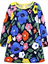 Недорогие -Дети (1-4 лет) Девочки На каждый день Повседневные / Праздники Цветочный принт Хлопок Платье Синий 100 / Очаровательный