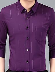 Homens Camisa Social Diário Simples Temática Asiática Outono, Listrado Poliéster Colarinho de Camisa Manga Longa