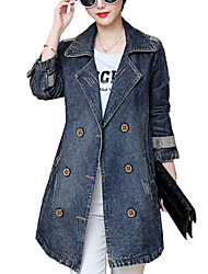 cheap -Women's Daily Going out Simple Casual Spring Fall Plus Size Long Denim Jacket,Solid Notch Lapel Cotton Polyester Poly-Cotton