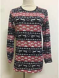 Недорогие -Жен. Длинный рукав Пуловер - Цветочный принт