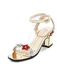 abordables -Mujer Zapatos Semicuero Verano Tira en el Tobillo Sandalias Tacón Cuadrado Puntera abierta Remache para Fiesta y Noche Dorado Plata