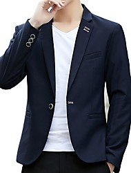 cheap -Men's Slim Blazer-Solid Colored,Basic Notch Lapel / Please choose one size larger according to your normal size. / Long Sleeve / Work