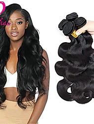 Недорогие -Бразильские волосы Естественные кудри Не подвергавшиеся окрашиванию Человека ткет Волосы Ткет человеческих волос 8а Черный