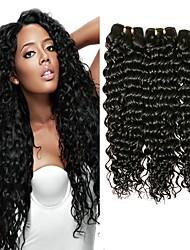 Недорогие -Бразильские волосы Кудрявый / Крупные кудри Не подвергавшиеся окрашиванию Человека ткет Волосы Ткет человеческих волос Черный