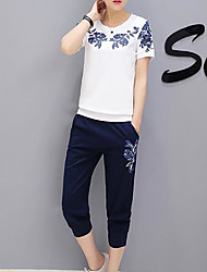 cheap -Women's Daily Sports Casual Round Neck Pant Short Sleeves Spring Summer