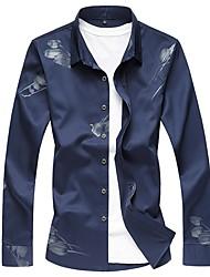Недорогие -Муж. Рубашка Деловые Цветочный принт Хлопок