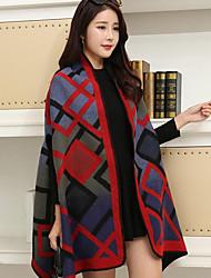 preiswerte -Damen Langarm Lang Mantel / Capes - Einfarbig V-Ausschnitt