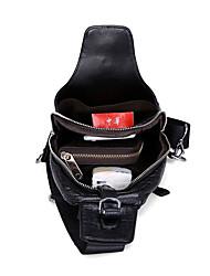 baratos -Homens Bolsas Pele Sling sacos de ombro Ziper para Ao ar livre Preto / Café