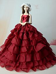 baratos -Vestidos Uma-Peça Para Boneca Barbie Vermelho Linho/Algodão Vestido Para Menina de Boneca de Brinquedo