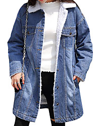 cheap -Women's Cotton Denim Jacket - Solid Colored Shirt Collar