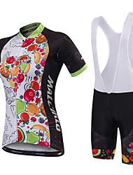 economico -Malciklo Per donna Manica corta Maglia con salopette corta da ciclismo - Nero Bianco/Nero Formale Geometrico Bicicletta