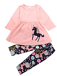 cheap -Girls' Daily Holiday Floral Print Animal Print Clothing Set, Cotton Spring Fall Long Sleeves Cute Casual Blushing Pink