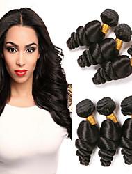 Недорогие -6 Связок Бразильские волосы Свободные волны Не подвергавшиеся окрашиванию Человека ткет Волосы Ткет человеческих волос Расширения человеческих волос