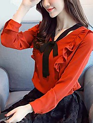 cheap -Women's Daily Work Simple Active Spring Fall Blouse,Solid V Neck Long Sleeve Polyester