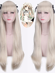 cheap -Synthetic Wig Straight With Bangs Natural Hairline Blonde Capless Halloween Wig Party Wig Lolita Wig Cosplay Wig Synthetic Hair
