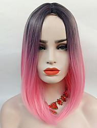 abordables -Perruque Synthétique Droit Rose Cheveux Synthétiques Cheveux Colorés / Mèches Colorées / Balayées / Au Milieu Rose Perruque 13 cm Sans bonnet Noir / Rose