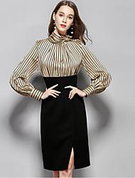 cheap -Women's Street chic A Line Dress - Striped Color Block, Split Print Stand