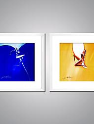 economico -Stampe a tela Contemporaneo, Due Pannelli Tela Quadrato Stampa Decorazioni da parete Decorazioni per la casa