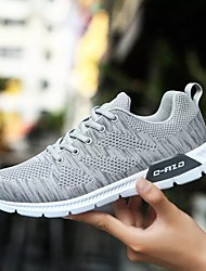 cheap -Men's Shoes Tulle Spring Fall Comfort Athletic Shoes Running Shoes Lace-up for Casual Black Dark Blue Light Grey