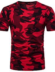 economico -T-shirt Per uomo Ufficio Con stampe, Camouflage Rotonda - Cotone
