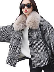 economico -Giubbino Da donna Quotidiano Vintage Inverno,Tinta unita Rotonda Cotone Acrilico Altro Standard Maniche corte A pieghe