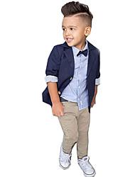 Недорогие -Дети (1-4 лет) Мальчики Активный Для вечеринок / Повседневные / Школа Однотонный Длинный рукав Обычный Обычная Хлопок Набор одежды Темно синий