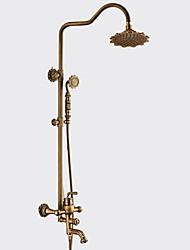 cheap -Antique Centerset Handshower Included Ceramic Valve Single Handle Two Holes Antique Copper, Shower Faucet