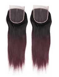 baratos -Alimice pre colorido fechamento de cabelo humano com cabelo de bebê 4 * 4 remy peruanos cabelo liso meio / livre / três partes de renda de