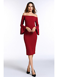 cheap -Women's Party Work Casual Sexy Bodycon Midi Dress, Solid Color Backless Off Shoulder Long Sleeves