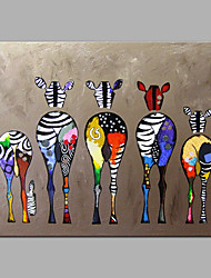 cheap -Hand-Painted Animals Pop Art Horizontal, Modern Canvas Oil Painting Home Decoration One Panel