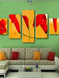 preiswerte -Aufgespannte Leinwandrucke Modern, Fünf Panele Segeltuch Vertikal Druck Wand Dekoration Haus Dekoration