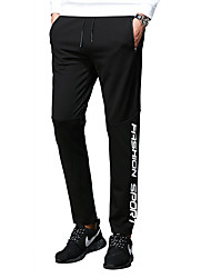 cheap -Men's Normal Medium Waist Micro-elastic Business Sweatpants Pants, Simple Street chic Solid Letter Polyester Spandex Spring/Fall