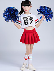 cheap -Cheerleader Costumes Outfits Girls' Training Polyester Ruching Short Sleeves Dropped Skirts Top