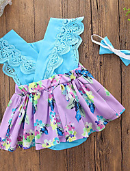 cheap -Baby Girls' Daily Going out Floral Patchwork One-Pieces, Cotton Polyester Summer Cute Casual Sleeveless Blue Purple
