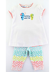 cheap -Girls' Daily Animal Print Clothing Set, Cotton Summer Short Sleeves Casual Active Red Light Blue