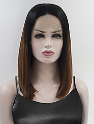 cheap -Synthetic Lace Front Wig Straight Bob Haircut African American Wig Ombre Hair Brown Women's Lace Front Natural Wigs Medium Synthetic Hair
