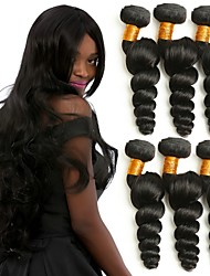 baratos -6 pacotes Cabelo Brasileiro Ondulação Larga Cabelo Humano Cabelo Humano Ondulado Tramas de cabelo humano Melhor qualidade / Natal / Jovem Extensões de cabelo humano Mulheres