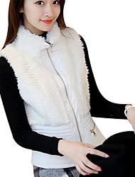 baratos -Mulheres Colete Básico-Sólido Colarinho Chinês Estampado