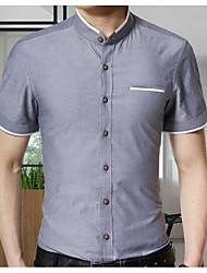 Недорогие -Муж. Рубашка Воротник-стойка Уличный стиль Однотонный