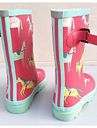baratos -Para Meninas sapatos Borracha Primavera Verão Botas de Chuva Conforto Botas Botas Cano Médio para Ao ar livre Azul Escuro Fúcsia Azul