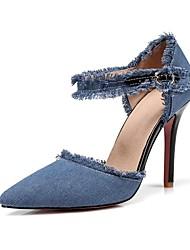 Недорогие -Жен. Обувь Деним Весна / Лето Удобная обувь / С ремешком на лодыжке Обувь на каблуках На шпильке Заостренный носок Черный / Темно-синий /