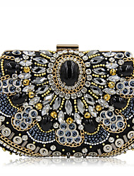 cheap -Women's Bags Glasses / Satin Evening Bag Beading / Crystals Black