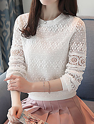 cheap -Women's Going out Work Street chic Spring Summer Blouse, Solid Round Neck Long Sleeves Cotton Polyester