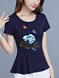 Недорогие -Жен. Плиссировка Вышивка Большие размеры - Футболка Тонкие Шинуазери (китайский стиль) Цветочный принт