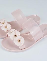 Недорогие -Жен. Обувь Кожа ПВХ  Весна / Лето Удобная обувь Сандалии На низком каблуке Черный / Розовый