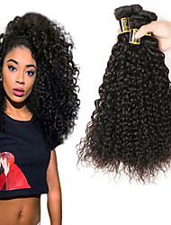 cheap -Brazilian Hair Kinky Curly Natural Color Hair Weaves 3 Bundles 8-28inch Human Hair Weaves Natural Black