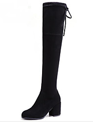 Недорогие -Жен. Обувь Нубук Весна Осень Удобная обувь Модная обувь Ботинки На толстом каблуке Сапоги выше колена для Повседневные Черный